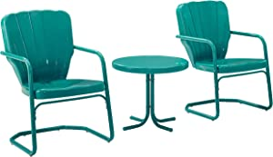Crosley Furniture KO10012TU Ridgeland Retro Metal 3-Piece Seating Set with 2 Chairs and Side Table, Turquoise
