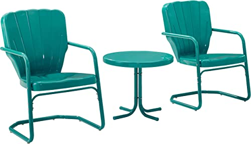 Crosley Furniture KO10012TU Ridgeland Retro Metal 3-Piece Seating Set