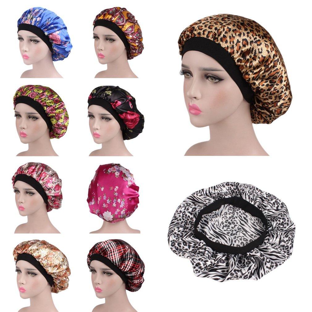 YiyiLai Chapeau Bonnet de Nuit Sommeil Femme en Satin Coiffure Soin Cheveux Imprim/é Floral