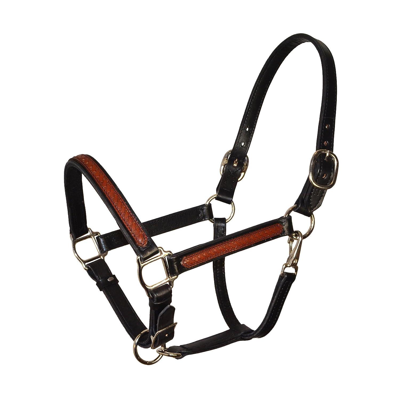 Perris Overlay Leather Halter Cob Overlay Bk//Br w//Chrome Hrdw Halter Black Brown Perri/'s 185