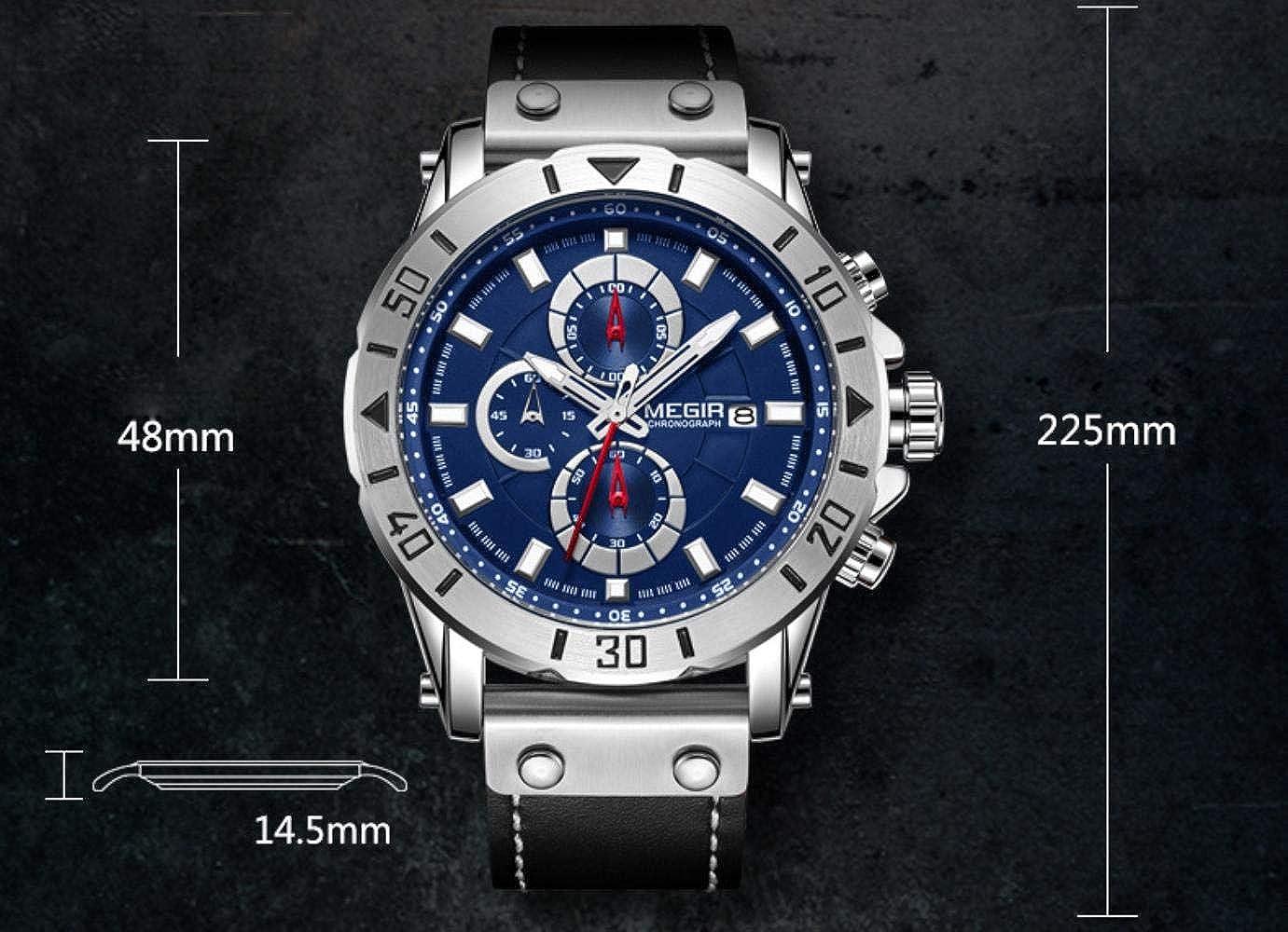 Orologi Uomo,Orologio Sportivo Al Quarzo Da Uomo In Cronometro A Tre Tempi Blue Surface Steel Shell Black Belt