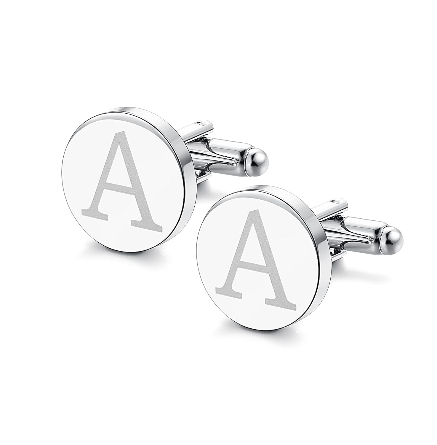 ORAZIO Mens Classic Engraved Initial Cufflinks Alphabet Letter Cufflinks Formal Business Wedding Shirts A-Z CB04L-A