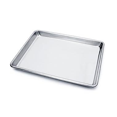 New Star Foodservice 36831 Commercial-Grade 18-Gauge Aluminum Sheet Pan/Bun Pan, 9  L x 13  W x 1  H (Quarter Size)
