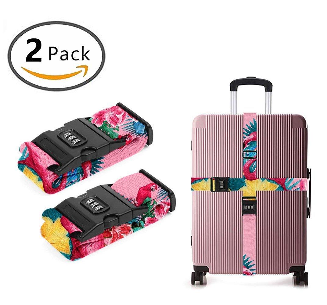 SWEET TANG Design Luggage Strap Adjustable Lock Flamingos Flower Palm Pink Summer Holiday