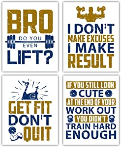 "HPNIUB Inspirational Gym Quotes Art Print,Motivational Fitness Wall Art,Set of 4 (8""X10"") Work Out Sign,Exercise Canvas Poster for Bodybuilding Lover Home Gym,Training Room Decor,No Frame"