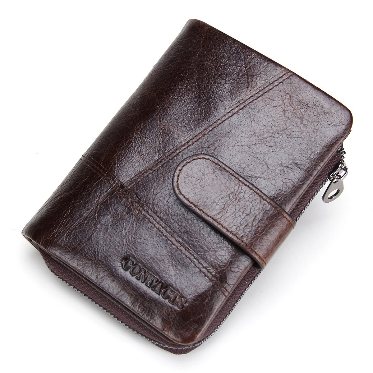 Contacts Mens Real Leather Cowhide Bifold Card Holder Zipper Coin Pocket Short Wallet Dark Brown