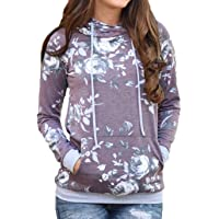 Women's Camouflage Hoodies Pullover Sweatshirt Hooded Camo Sweater with Pockets Casual Loose Fit Shirt Tops