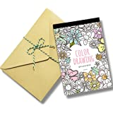 Stress Relieving Adult Coloring Books Color Therapy Stationery Cards Set, All Different 32 Coloring Postcards Including 10 Brown Kraft Envelopes Set, Greeting Note Cards and Envelopes Kit