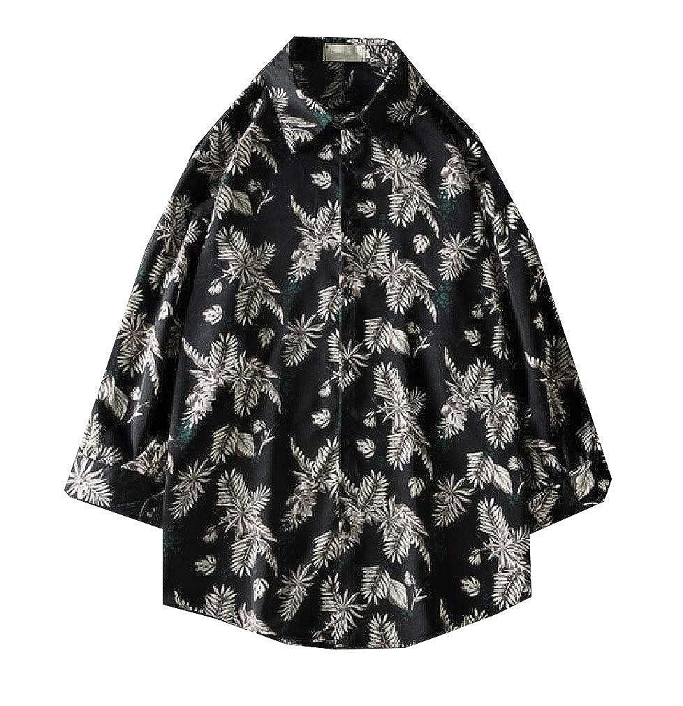 Winwinus Men Short-Sleeve Baggy Fashion Relaxed-Fit Non-Iron Classic Shirts