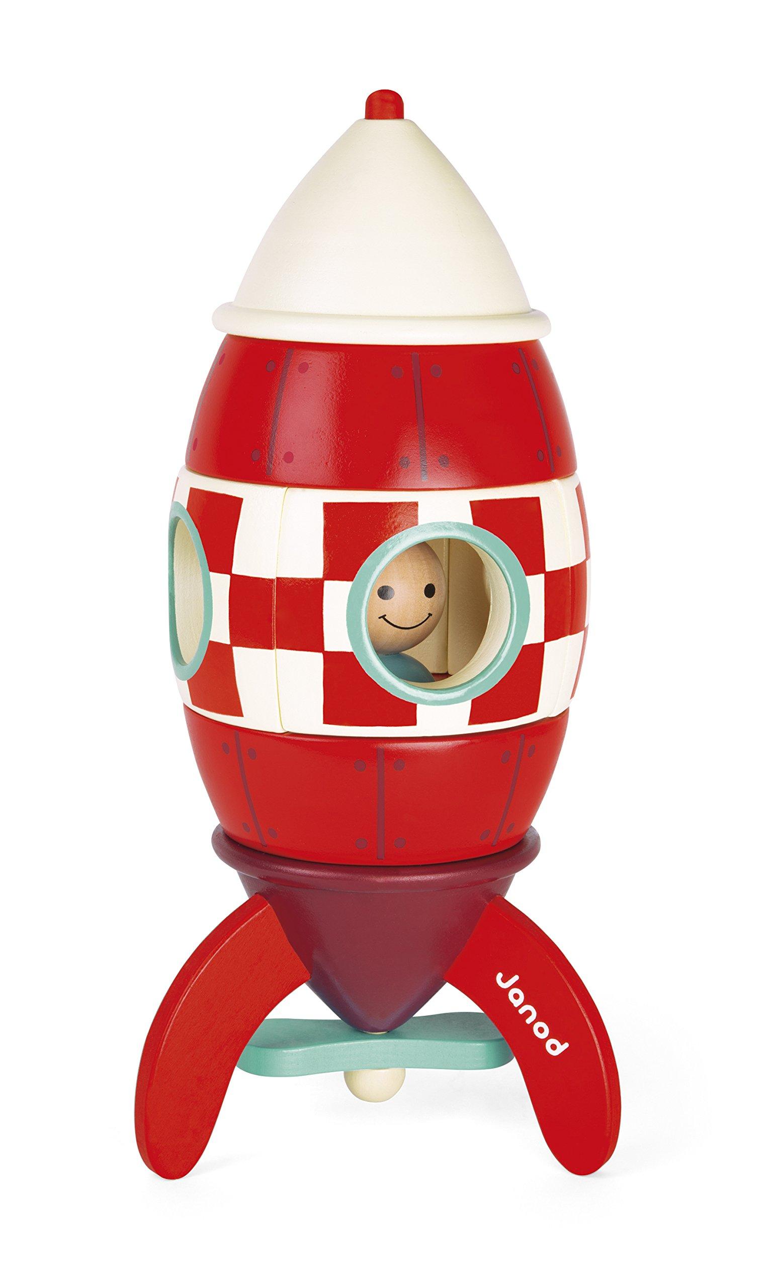 Janod J05212 Wooden Magnetic Rocket, Large (32 cm)