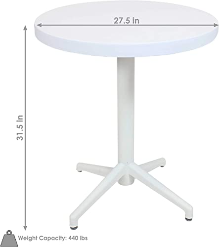 Sunnydaze All-Weather Round Plastic Patio Dining Table – Foldable Design – Commercial Grade – Balcony, Deck, Dining Room, Indoor or Outdoor – White – 28-Inch