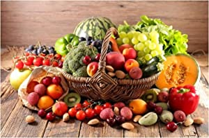 Vegetable Fruits in Basket Poster Prints Green Food Canvas Art Wall Painting for Dining Room Kitchen Decor (Unframed,16x32 inch)