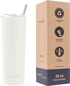 Ezprogear Vaso de café de acero inoxidable blanco delgado con pajita de 567 ml, color blanco