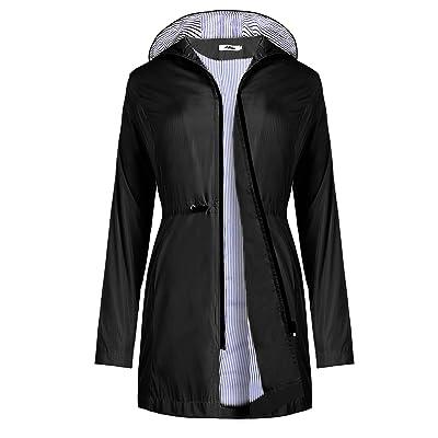 Aibrou Rain Jacket Women Waterproof Lightweight Raincoats Striped Climbing Outdoor Hooded Trench Coats: Clothing