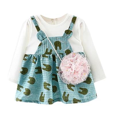 Baby Girls Spring Bunny Ears Long Sleeve Tutu Dress Tops+Bag 2 Piece Set Outfits