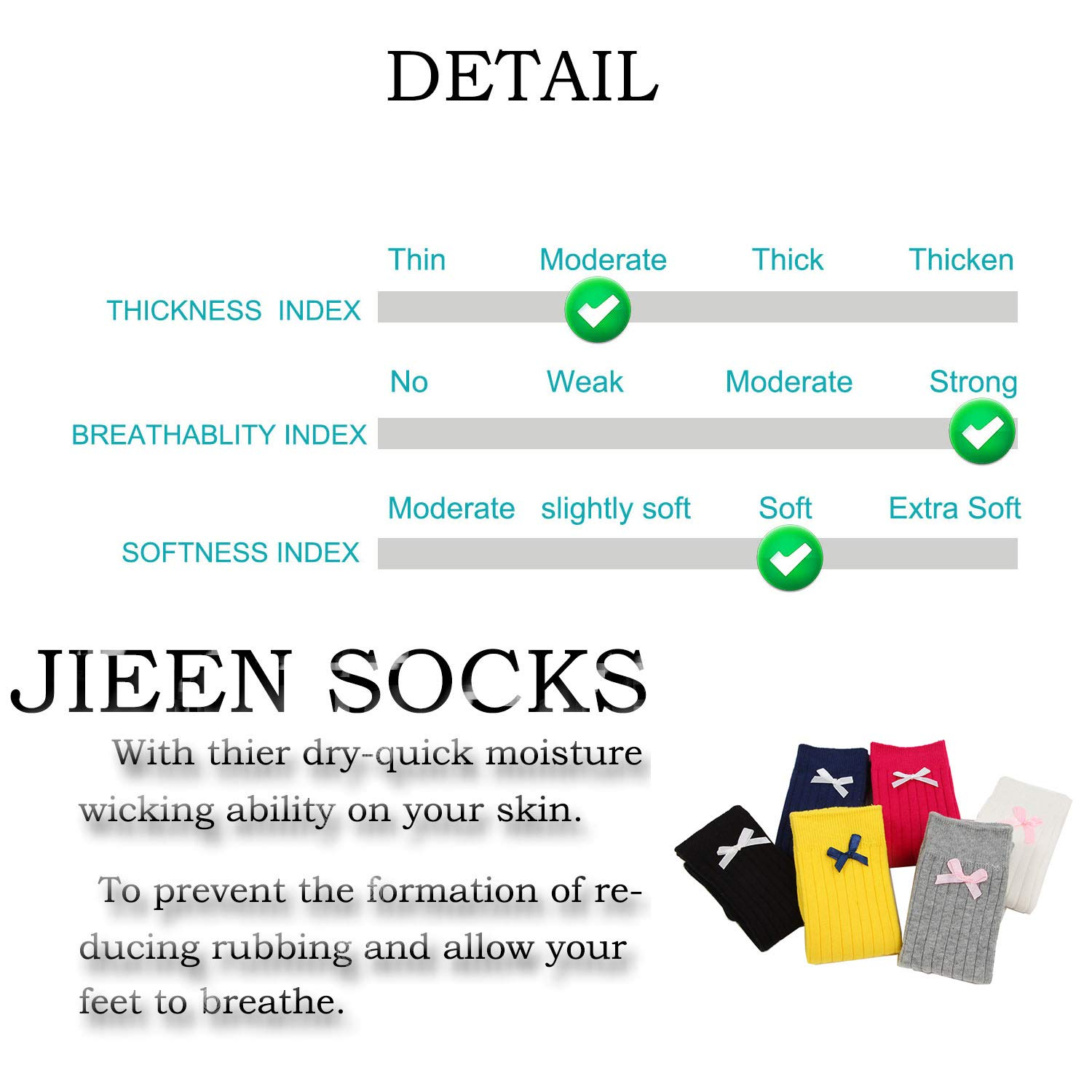 JIEEN Kids Girls Cute Princess Knee High Socks Lovely Toddler Lace Bowknot Boot Sox Solid Color Long Stocking