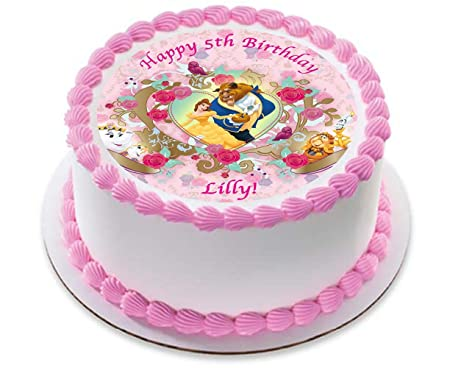Belle Princess Personalized Cake Topper Icing Sugar Paper 75 image