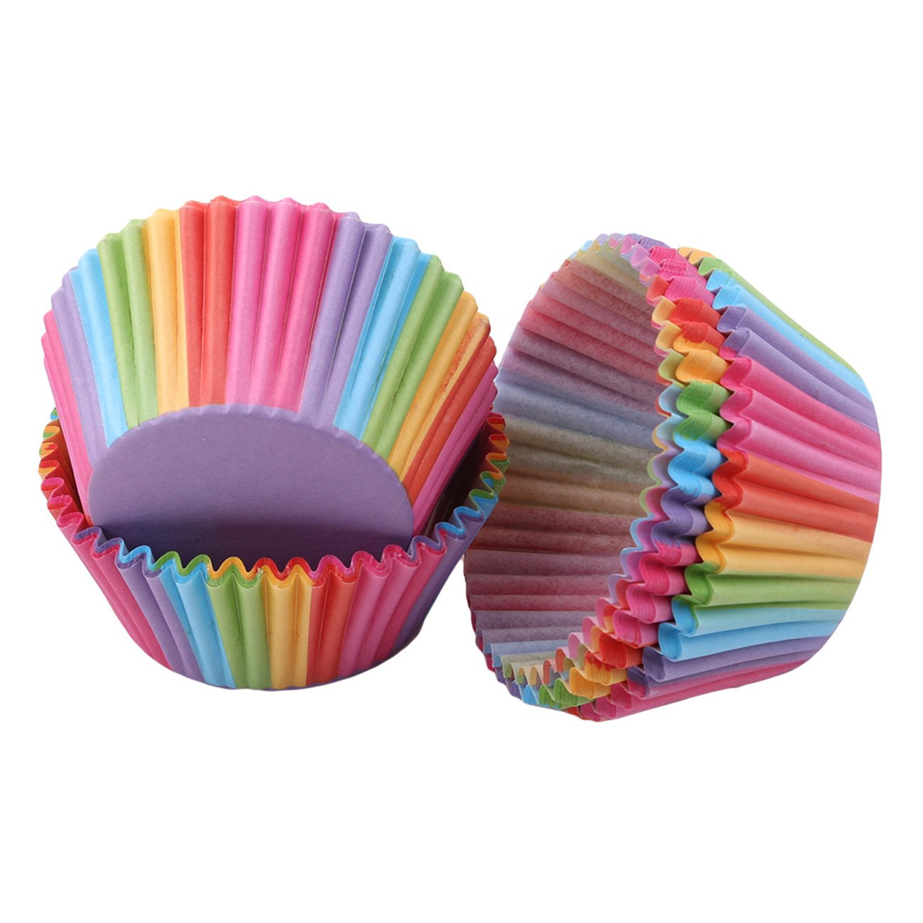 Bigsweety 100Pcs Colorful Paper Baking Cups Round Petite Loaf Pans Cupcake and Muffin Molds TangRen