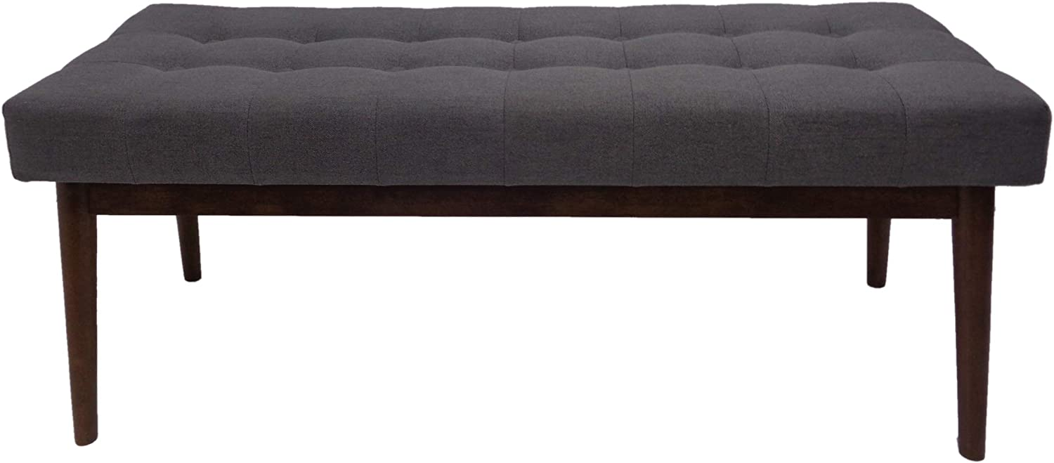 Christopher Knight Home Flavel Mid-Century Tufted Fabric Ottoman, Grey / Walnut