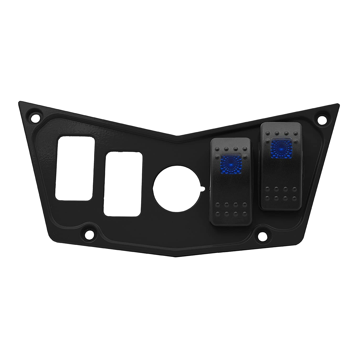 STV Motorsports Custom Aluminum Black Dash Panel for Polaris RZR XP 900, 800, S, 570, Jagged X with 2 Free Rocker Switches STVMotorsports 4333041673