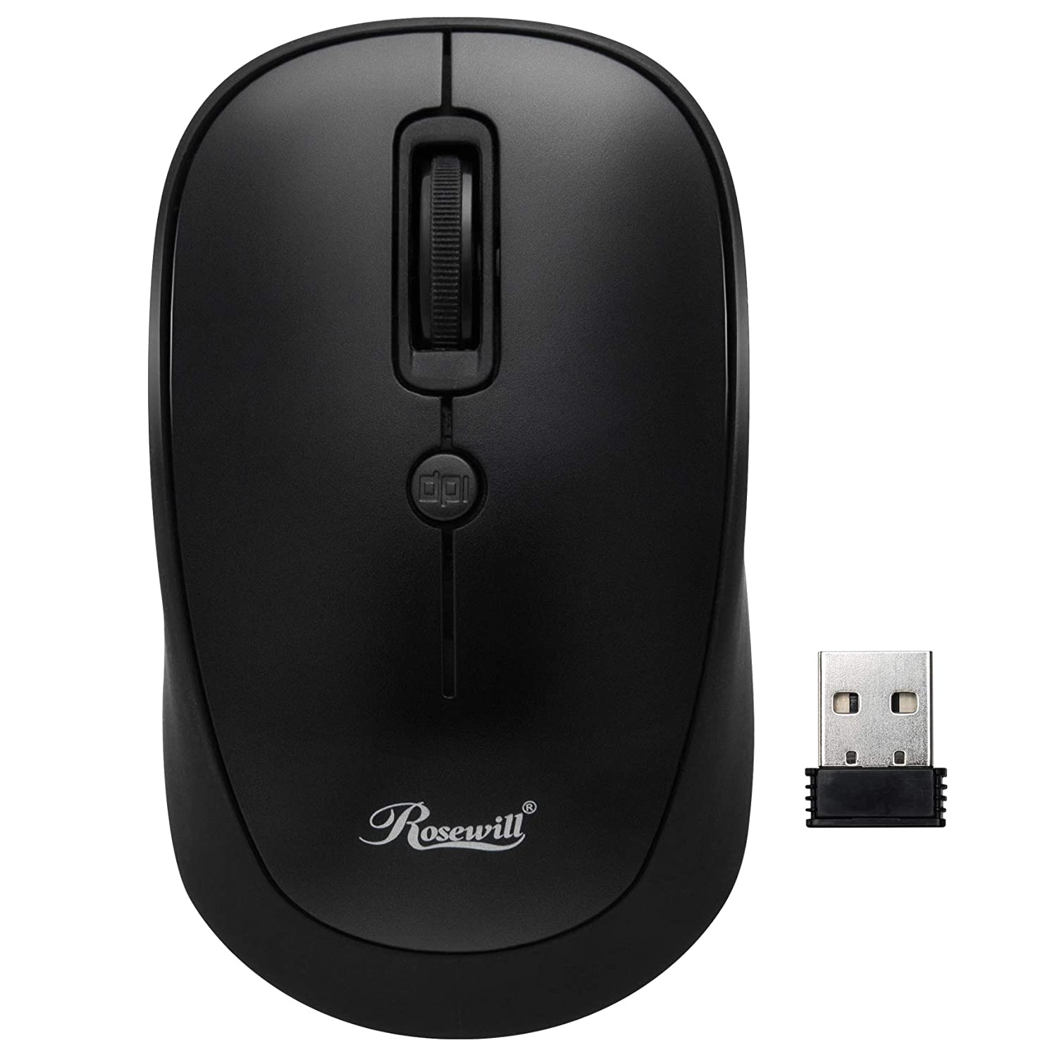 a46b733fa16 Amazon.com: Rosewill RWM-001 Portable Cordless Compact Travel Mouse, Optical  Sensor, USB Wireless Receiver, Adjustable DPI, 4 Buttons, Office Style for  ...