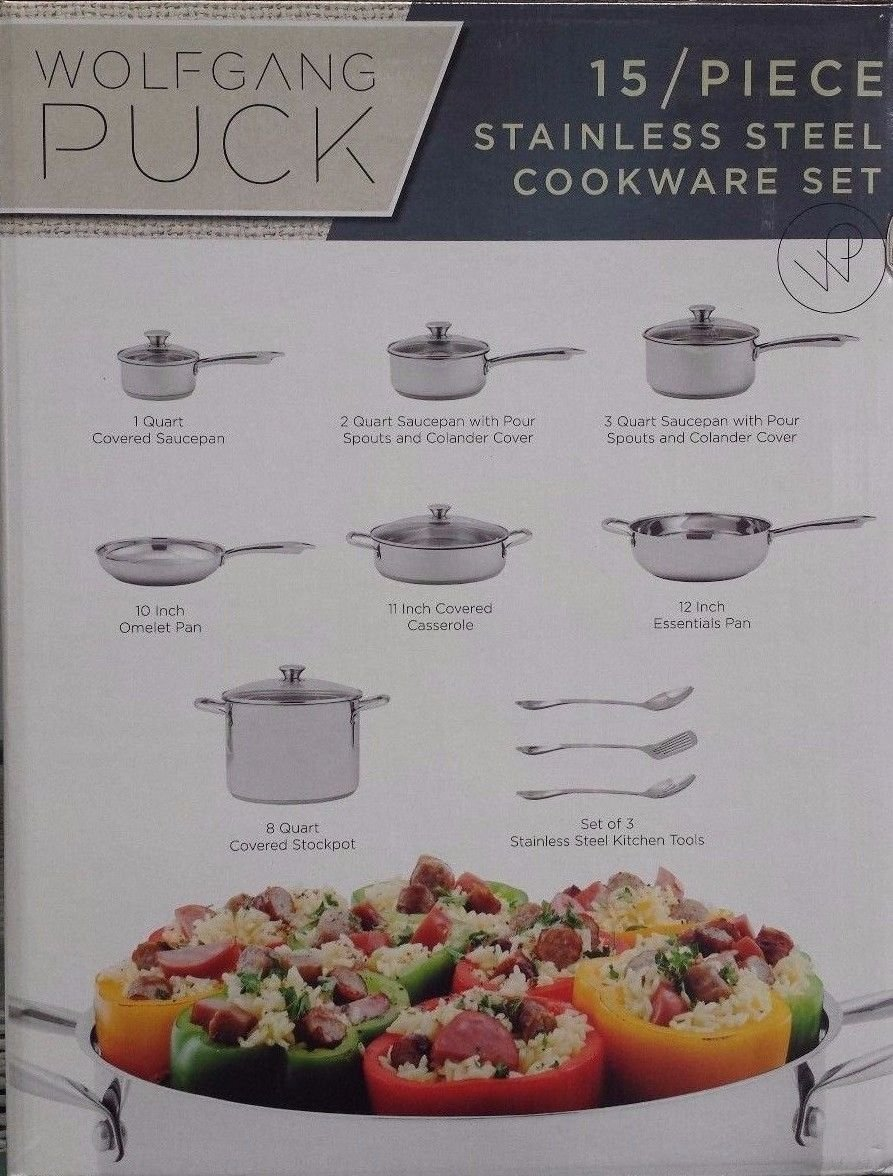 Amazon.com: NEW Wolfgang Puck - 15 Piece Stainless Steel Cookware ...
