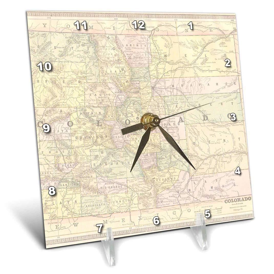 3dRose Vintage Map of Colorado, USA - Desk Clock, 6 by 6-Inch (dc_178849_1)