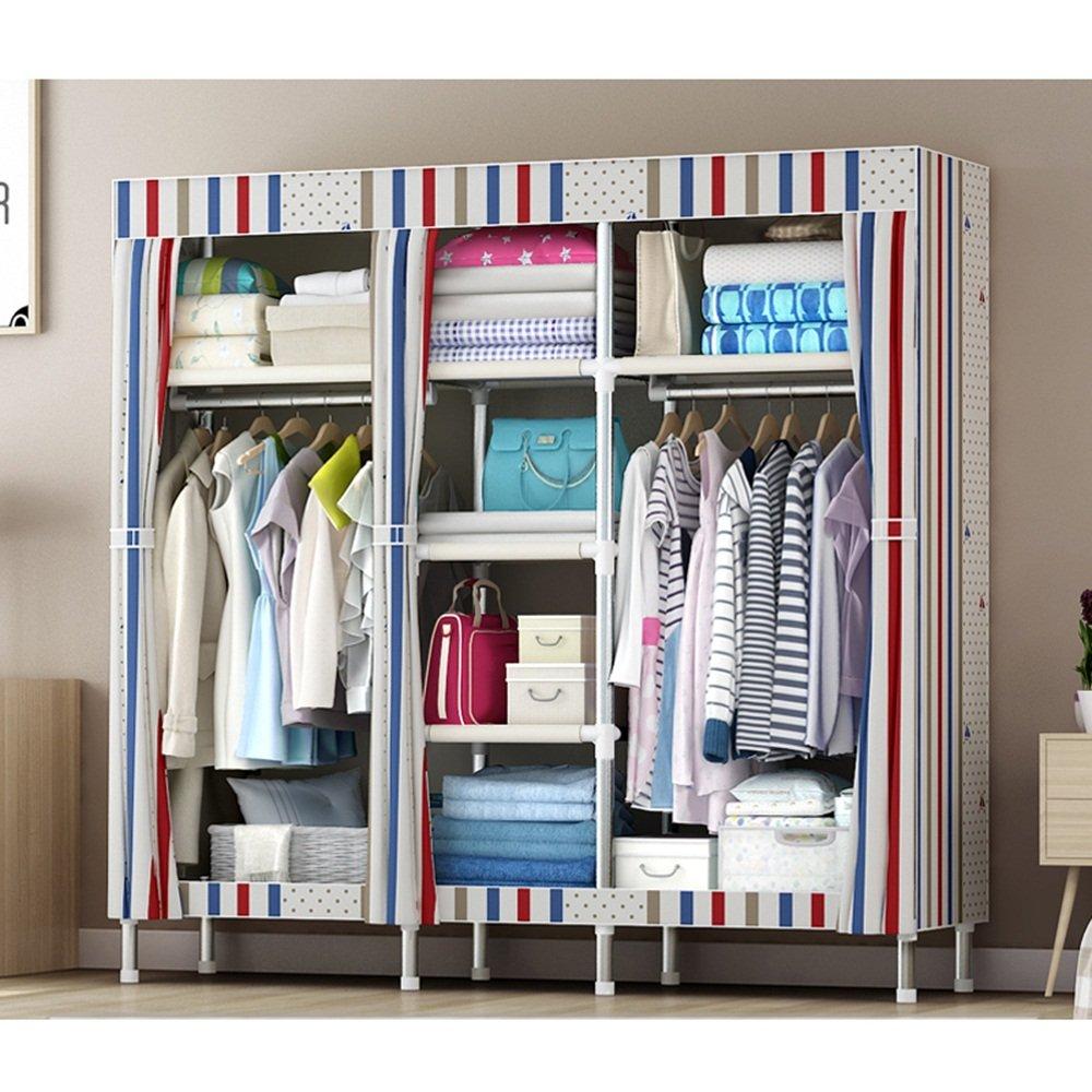 Rangement simple en tissu simple - dortoir en acier pliant en acier armé en tissu - tube en acier grande armoire