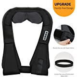 VIKTOR JURGEN Hands-free Shoulder Massager with Heat - Shiatsu Kneading Neck and Back Massager - Removeable Longer Straps and AC/CAR Adapter for Full Body Massage