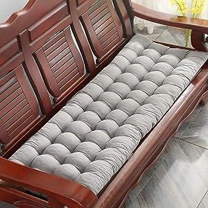 OLLOLCCY Sun Lounger Cushion Thick Patio Chair Cushion Portable Seat Cushion Mattress Recliner Relax Pad for Sofa Bench Tatami(Cushion Only) Gray 48x163cm(19x64inch)