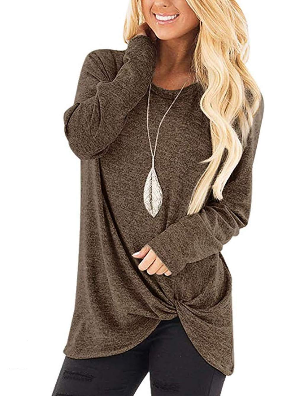 Famulily Women's Casual Soft Long Sleeves Knot Side Twist Knit Shirts Top Coffee XL