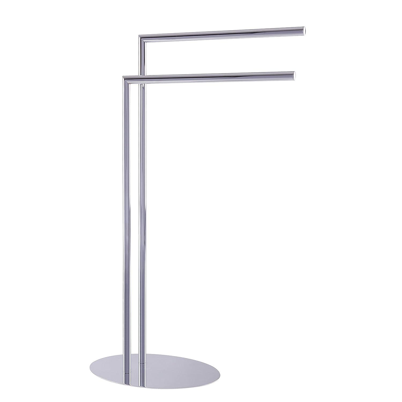 Esbada Design-Handtuchständer freistehend freistehender Handtuchhalter Badehandtuchständer, Oval, 2 Handtuchstangen - Chrom - 33x80,5x23 cm