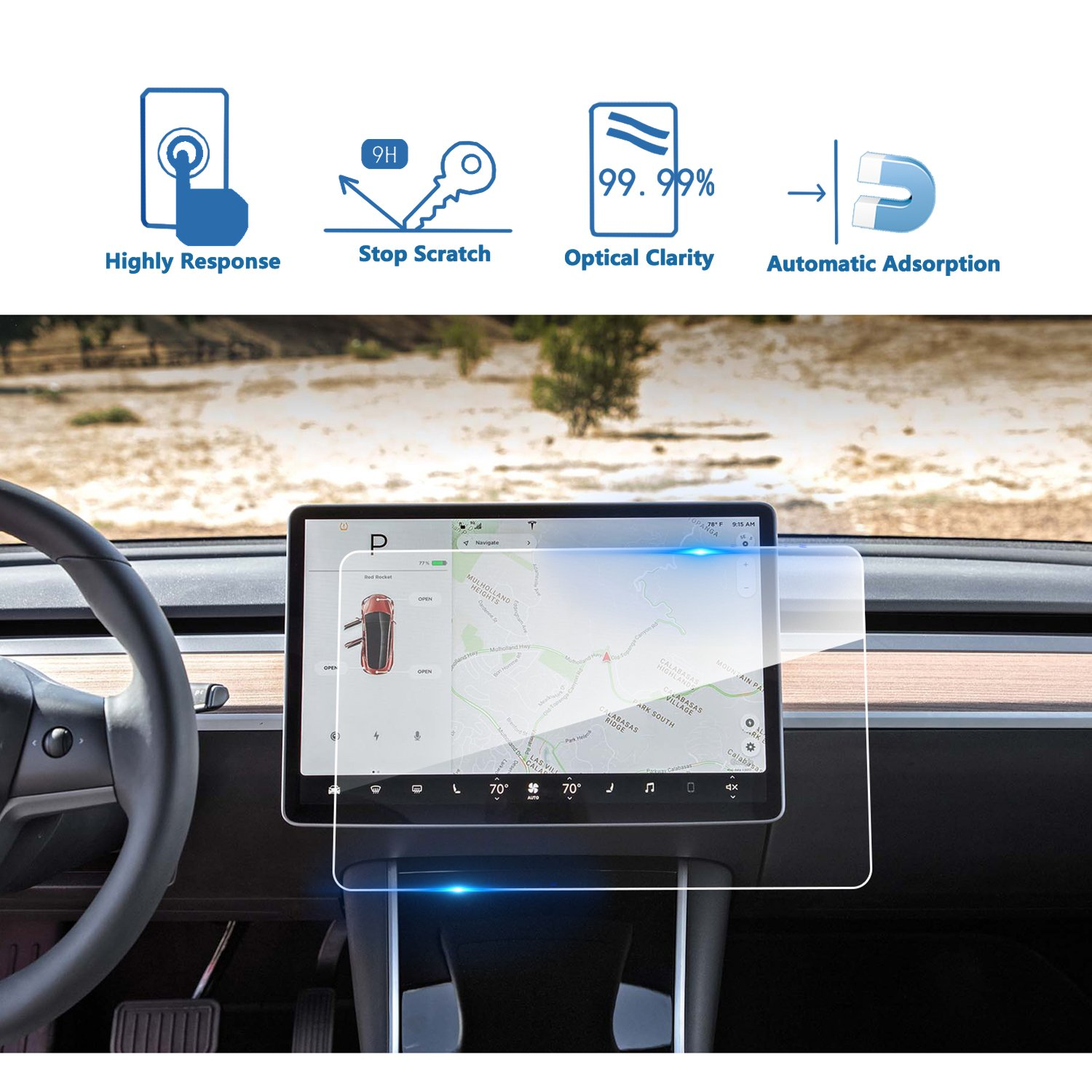 9H Anti-Scratch Guard LiFan Tesla-Model-3-UPGRADE-2 P50 P65 P80 P80D Tempered Glass Infotainment Display Protective Film LFOTPP Tesla Model 3 15-Inch Center Touch Navi Screen Protector