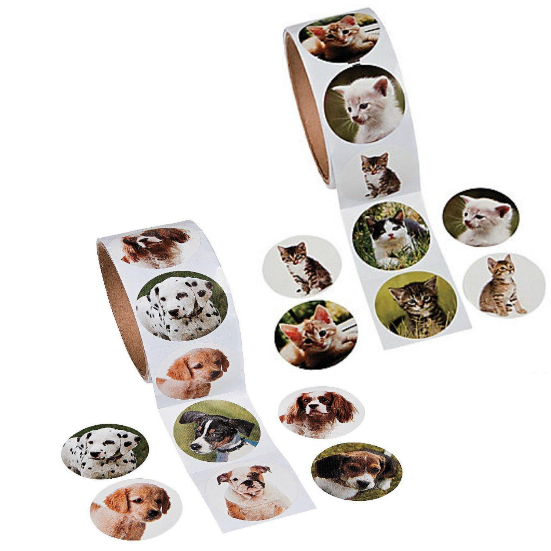 Fun Express Animal Sticker Roll Bundle | Dog Sticker Roll and Cat Sticker Roll (100 Stickers per Roll, Shrink-Wrapped)