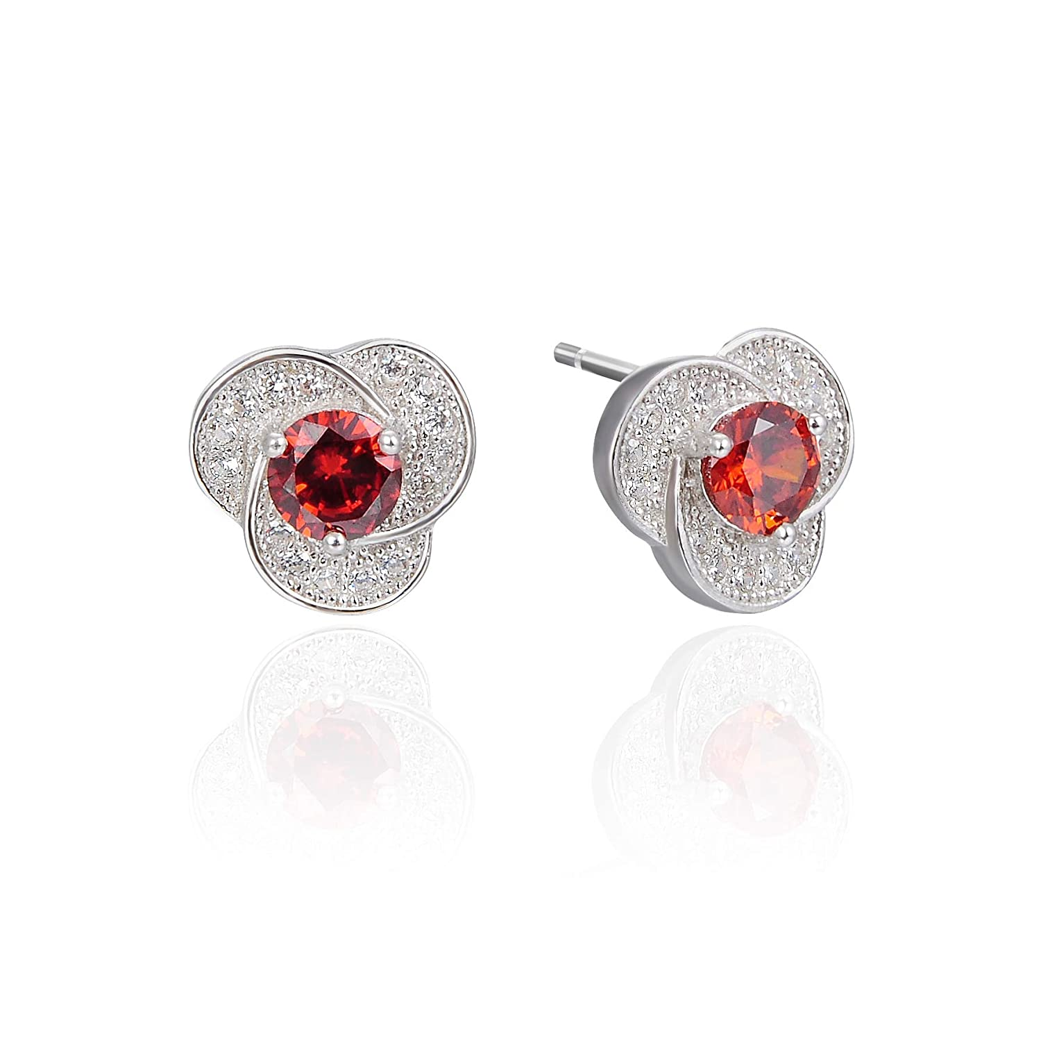 FHX Lovely Fashion Lady Fashion Jewelry 925 Sterling Silver with Diamond Zircon Stud Simple Flowers Embedded red gem Earrings for Women Girls Gifts.