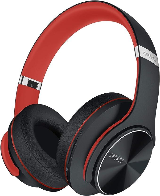 DOQAUS Auriculares Inalámbrico Diadema, [52 Hrs de Reproducir] Cascos Bluetooth con 3 Modo EQ y Micrófono Incorporado, Audifonos Bluetooth Inalámbrico para iPhone/Xiaomi/Android/laptops (Negro Rojo): Amazon.es: Electrónica