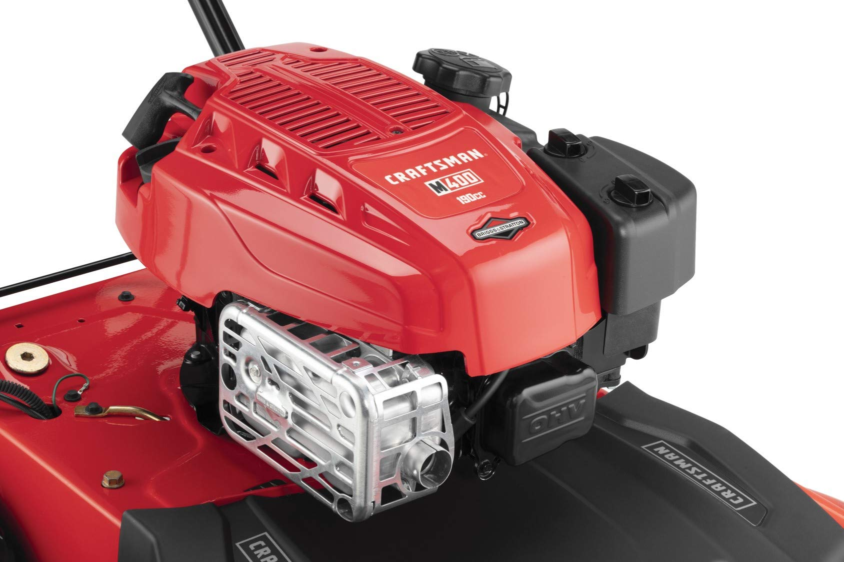 Craftsman M410 190cc Briggs & Stratton 875 Professional Series 28-Inch 2-in-1 Self-Propelled RWD Gas Powered Lawn Mower 2 POWERFUL 190CC OHV GAS ENGINE: Powerful Briggs & Stratton engine equipped with recoil and ready start-just pull to start! 2-IN-1 CAPABILITIES: Unit can mulch and side discharge. REAR WHEEL DRIVE: Provides more traction and the ability to operate over hilly terrain.
