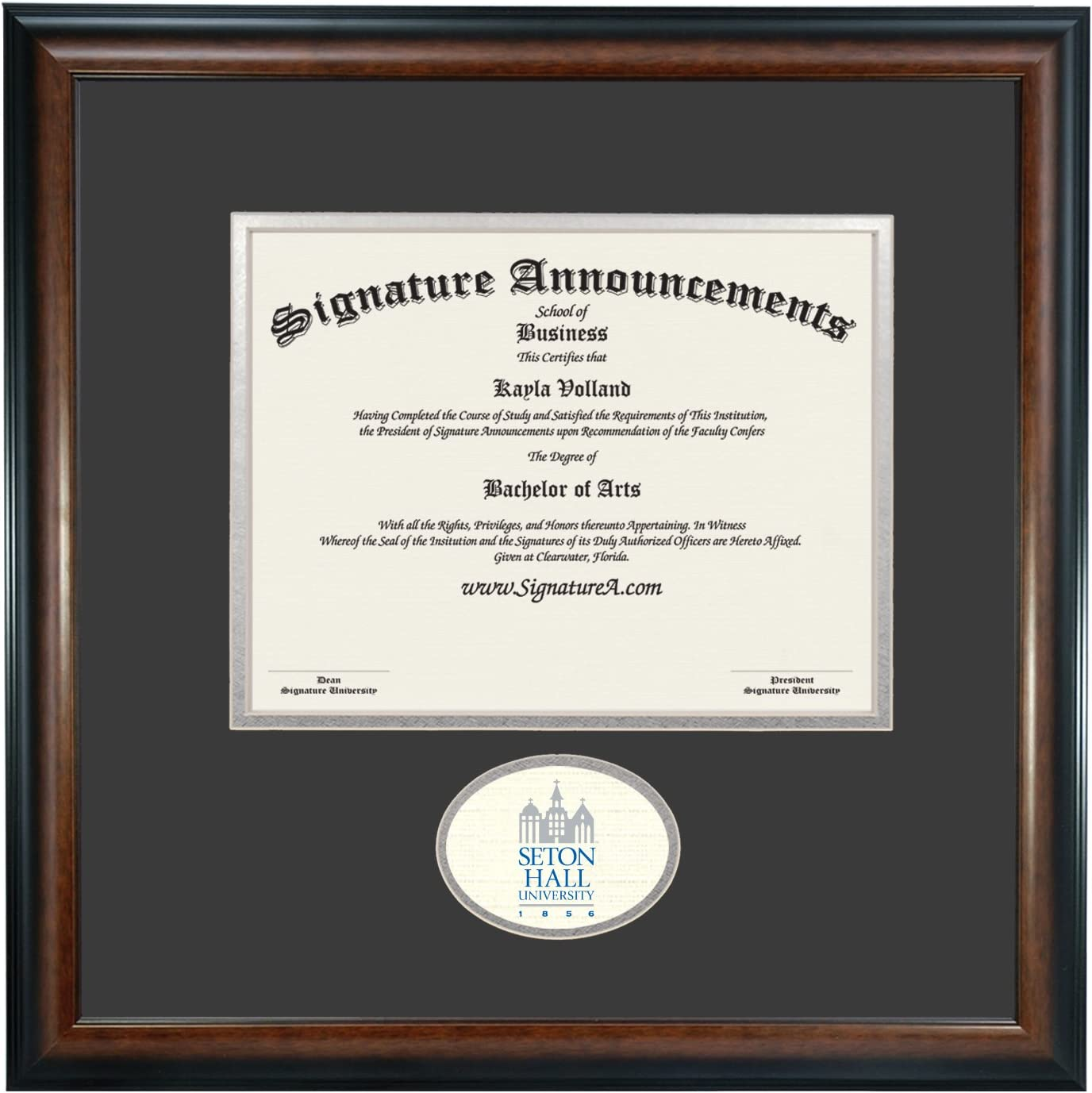 Amazon Com Signature Announcements Seton Hall University Undergraduate Professional Doctor Sculpted Foil Seal Graduation Diploma Frame 16 X 16 Matte Mahogany Home Kitchen