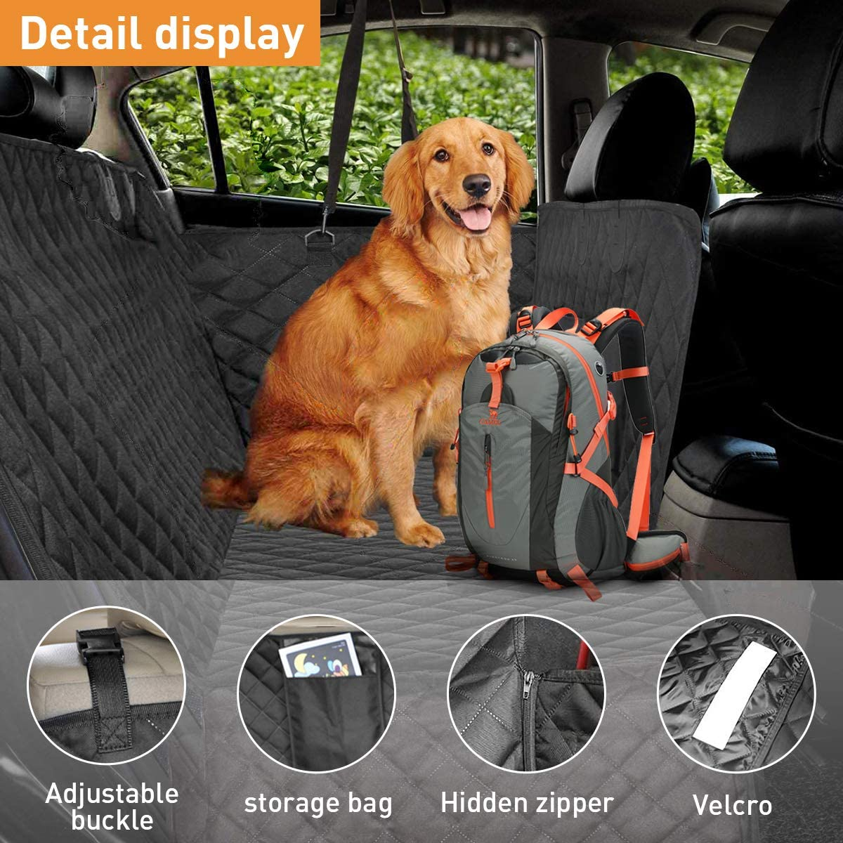 105cm newoer Car Boot Liner Protector for Dogs Nonslip Dog Seat Cover 185 Waterproof Dog Seat Cover Mat for Back Seat Trucks//SUV with Bumper Flap Protector