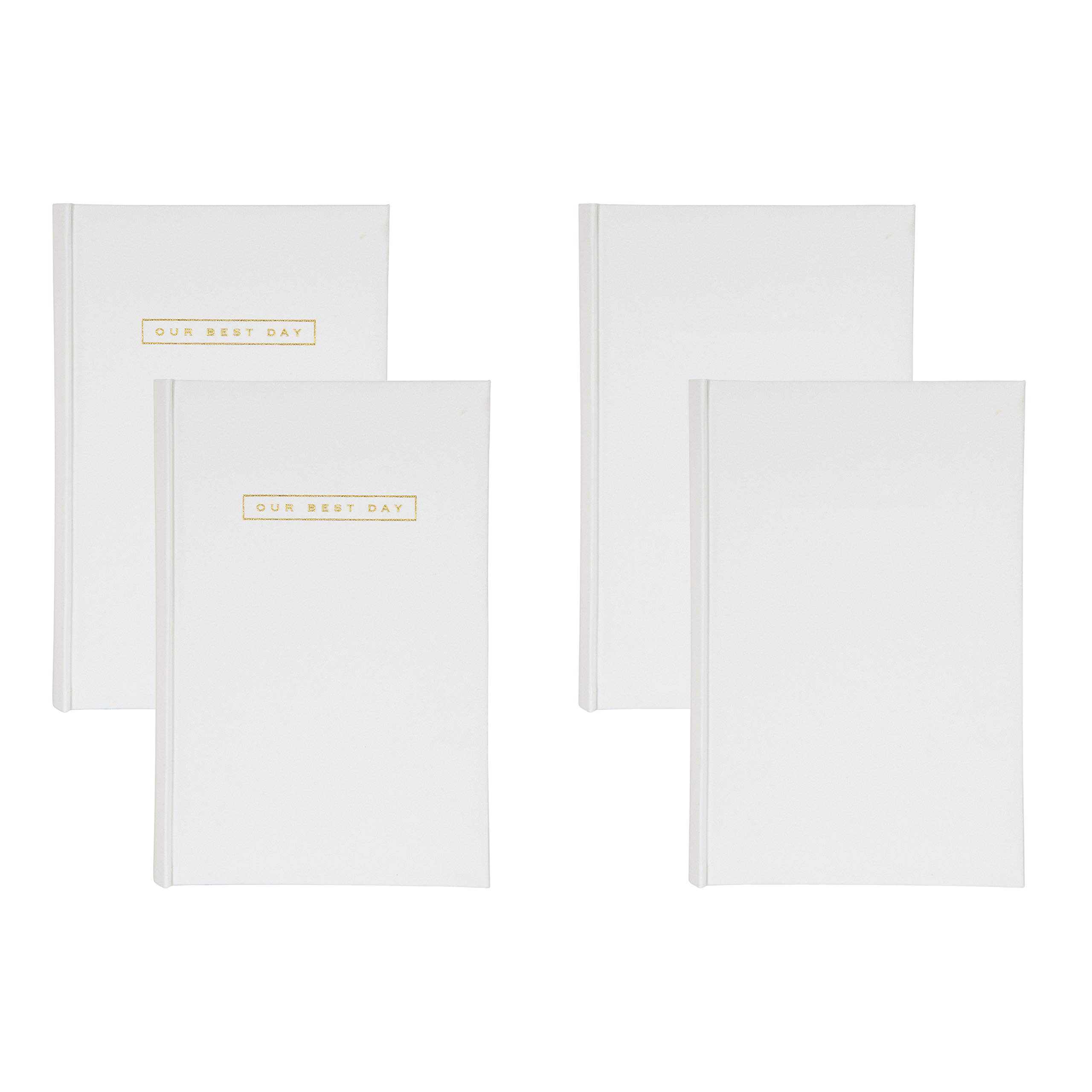DesignOvation Fabric Deluxe Photo Album with 2 Blank and 2 Front Cover Sentiment Our Best Day in Gold Block Letters Holds 300 4x6 Photos, White, Set of 4 by DesignOvation