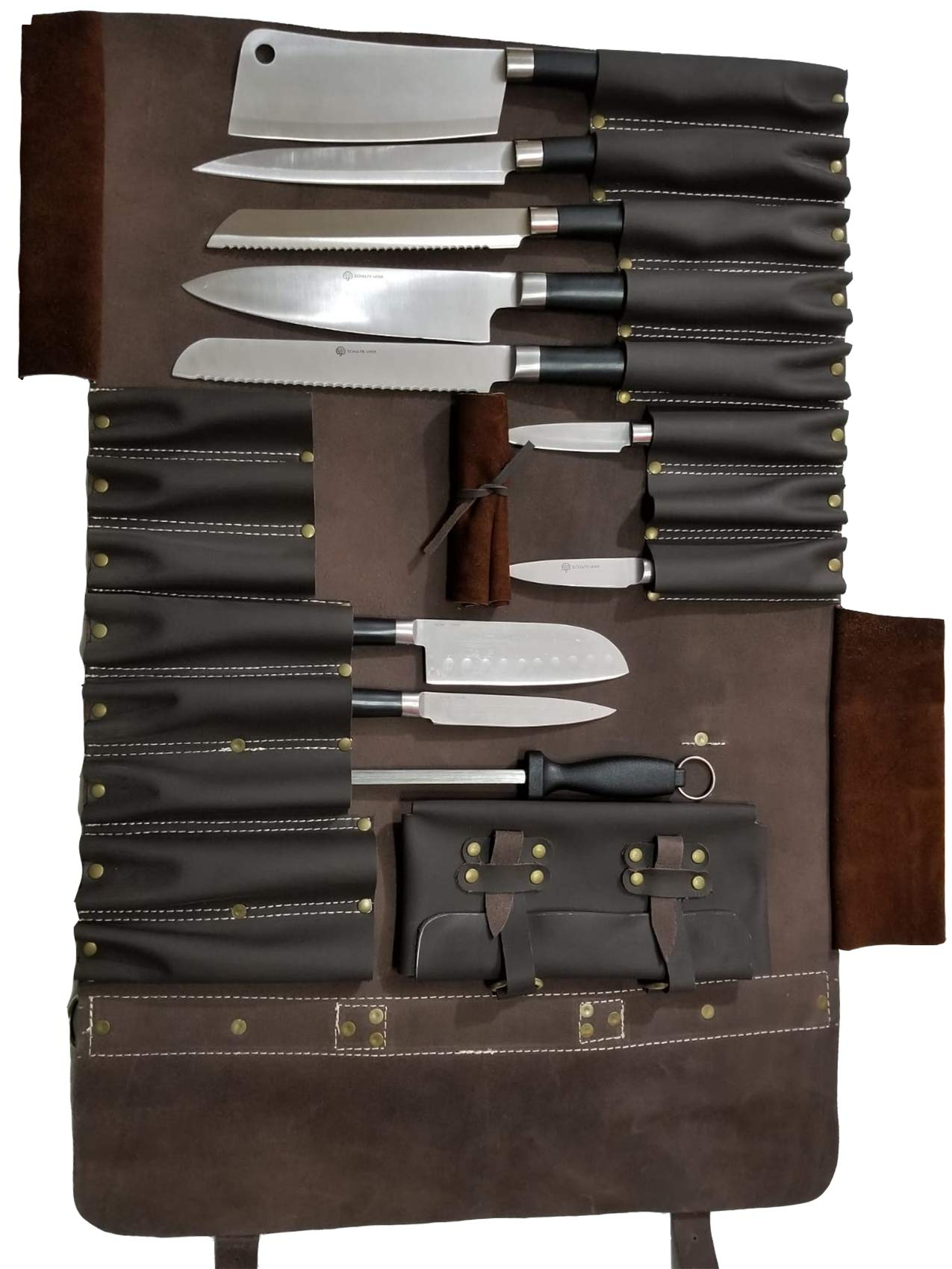 Genuine Lightweight Premium Leather Professional Dark Brown (W) Chef Knife Bag/Chef Knife Roll 16 Slots Space #K3