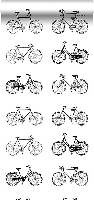 papel pintado bicicletas blanco y negro - 138523 - de ESTAhome.nl: Amazon.es: Bricolaje y herramientas