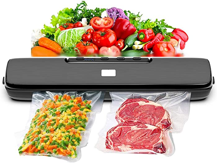 Vacuum Sealer Machine, 2021 Upgraded Automatic Food Saver with Dry & Wet Food Modes Vacuum System, 15 Sealing Bags included, 5-level Temperature Control/Waterproof/Led Light/Easy to Clean/Portable Design, Black