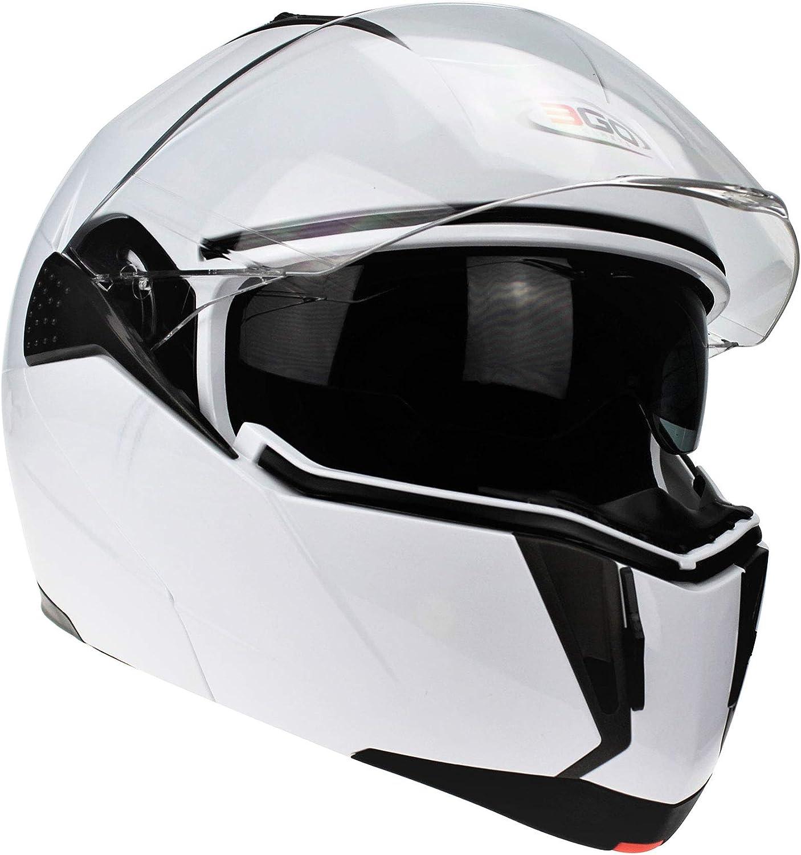 3GO-E335 CASCO APRIBILI MODULARE MOTO ECE OMOLOGATO INTEGRALE CASCHI UOMINI E DONNE CON DOPPIA VISIERA NERO LUCIDO S 55-56 CM