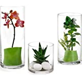 Set of 3 Glass Cylinder Vases 4, 8, 10 Inch Tall – Multi-use: Pillar Candle, Floating Candles Holders or Flower Vase…