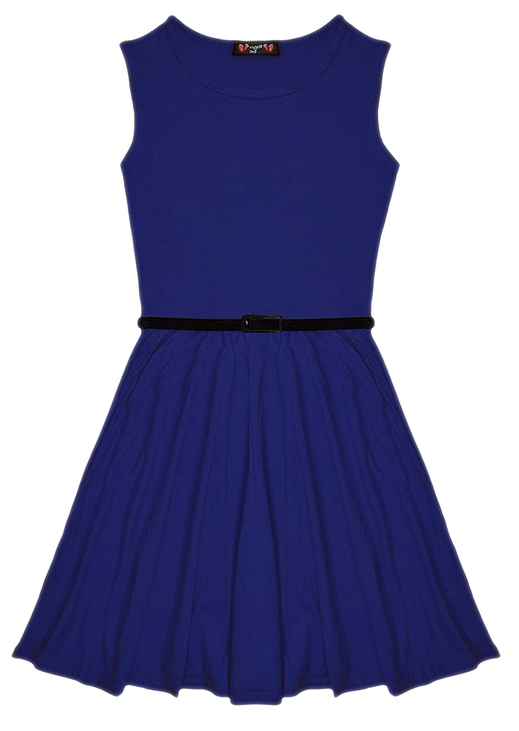 Aelstores New Girls Plain Retro Skater Dress with Belt Age Size 7-13 Years Sugar babe