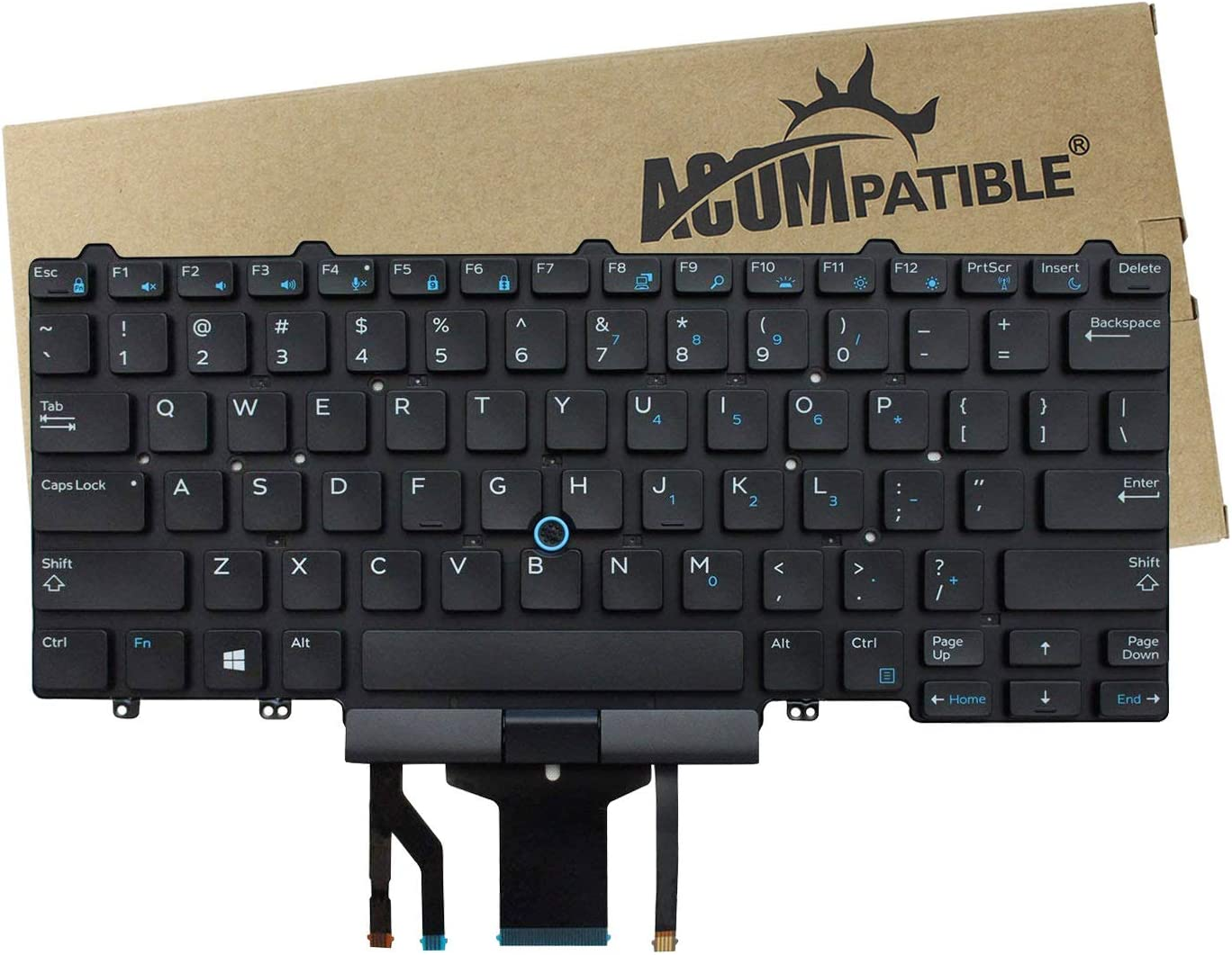 ACOMPATIBLE Replacement Keyboard for Dell Latitude E5450 E7450 Laptop with Pointer with Backlight No Frame