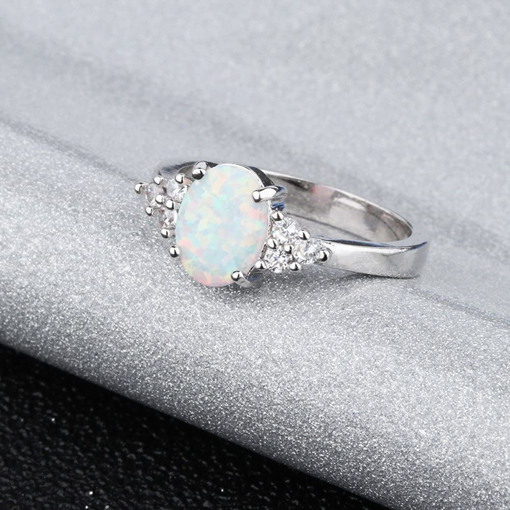 Haluoo Sterling Silver Ring Oval Lab Round Opal Engagement Promise Band Ring White Sapphire Halo Diamond Wedding Rings Women Jewelry Gift