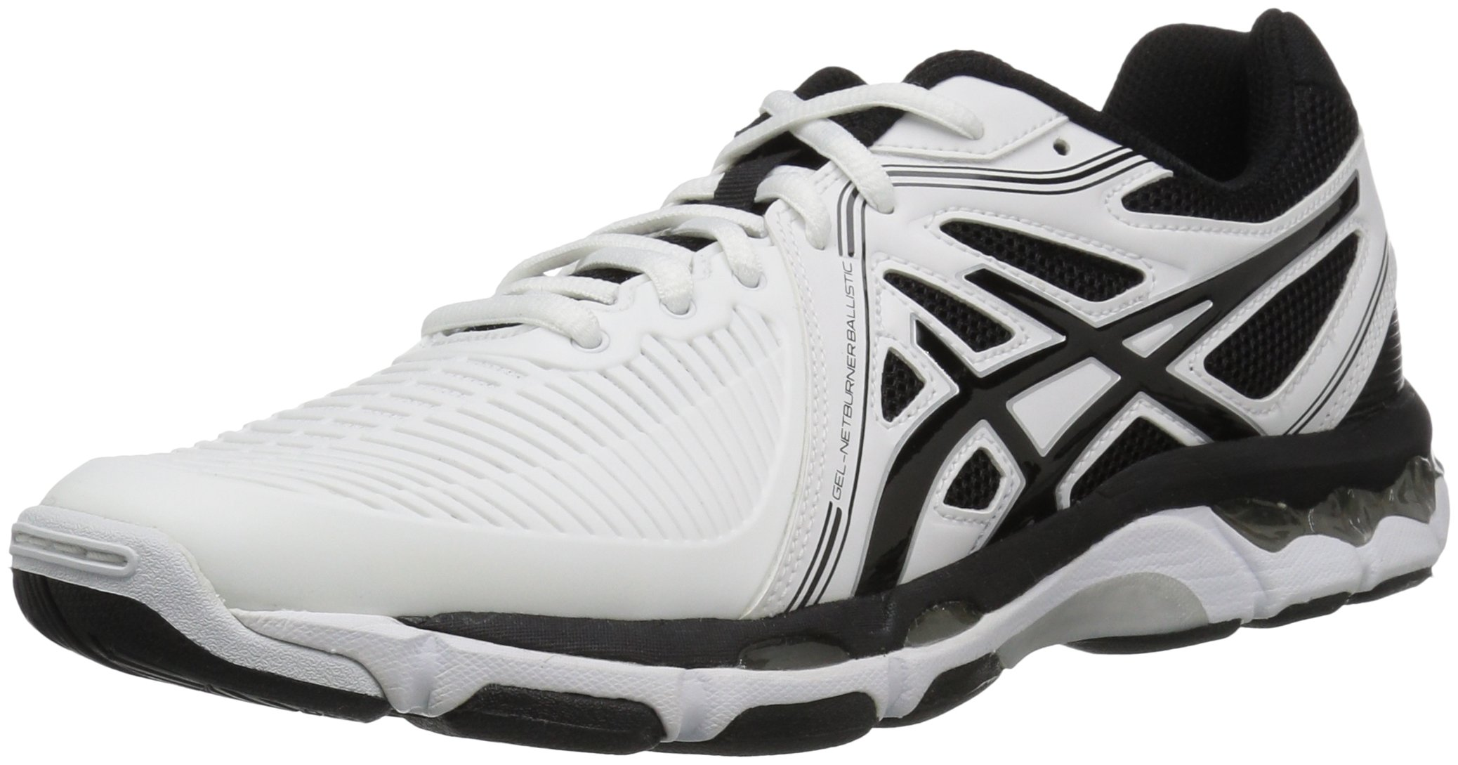 ASICS Men's Gel-Netburner Ballistic Volleyball Shoe, White/Black/Silver, 6.5 M US