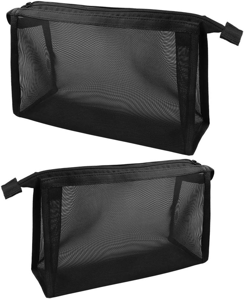 2 Bolsas de Almacenamiento de Maquillaje con Cremallera Bolsa de Art/ículos de Tocador de Viaje Bolsa de Cosm/éticos de Malla para Almacenar Art/ículos de Tocador Cosm/éticos Negro